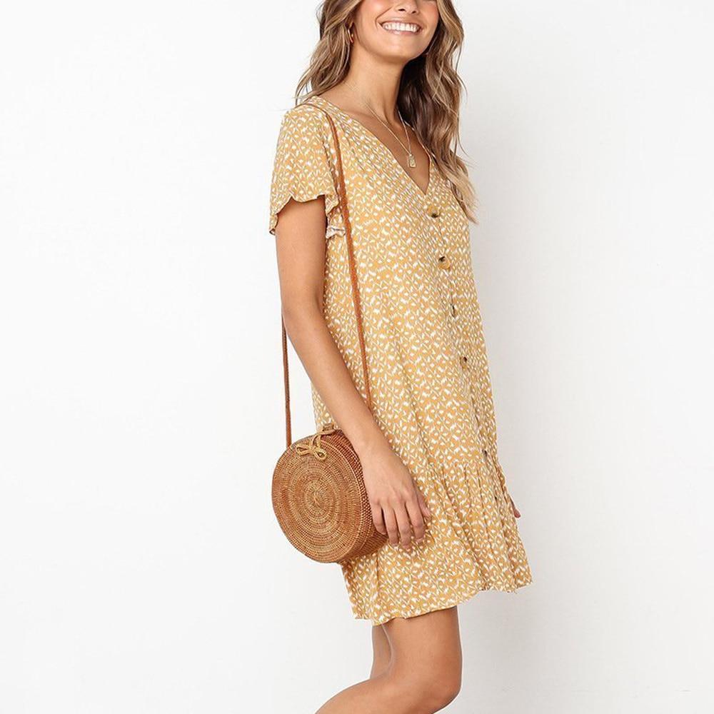 Women 39 s V neck Ruffles Mini Dress Polka Dot Short Sleeve Summer Dress in Dresses from Women 39 s Clothing