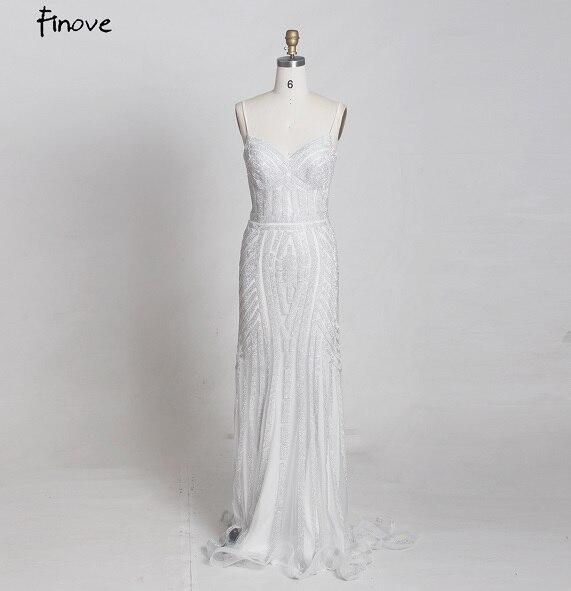 Finove/Вечерние платья цвета шампанского, элегантные сексуальные вечерние платья без рукавов с v-образным вырезом, украшенные кристаллами и бисером, длинные платья для выпускного вечера для женщин - Цвет: White and Silver