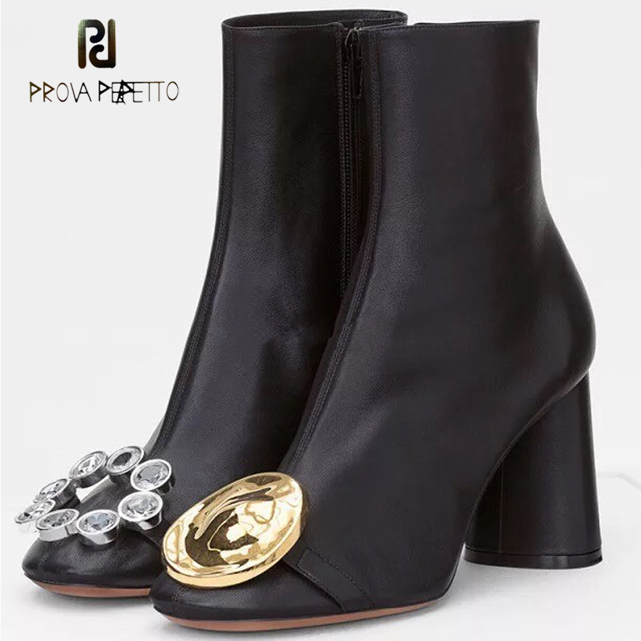 Prova Perfetto gold buckle rhinestone unsymmetrical decor ankle boots women round toe chunky high heel short boots mujer zapatos все цены