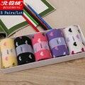 O envio gratuito de 5 pares/lote 2016 mulheres novas happy socks alta qualidade Meias de algodão Estilo Coração 5 Cores com Caixa de Presente Venda Quente