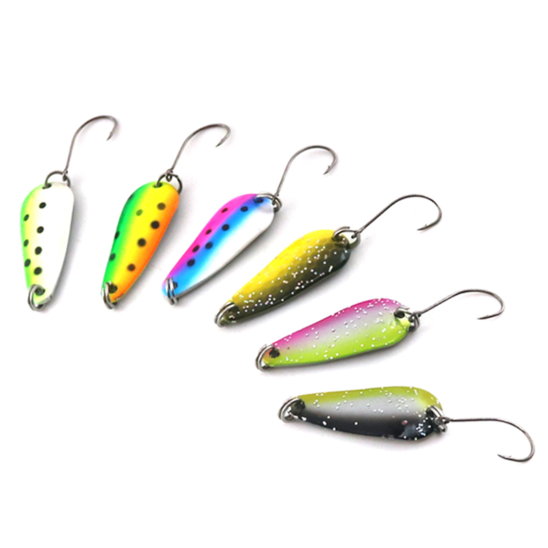 3Pcs/lot 3cm/3g Bait Fishing Metal Spoon Lure Bait For Trout Bass Spoons Hard Sequins Spinner Baits Single Hook bammax fishing lure 1 box metal iron hard bait sequins shore jigging spoon lures fishing connector pin fishing accessories pesca