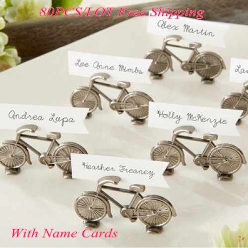 80Pcs/Lot Antique Photo Holder Wedding Gift Of Bicycle Place Card Holders For Party Decoration Favors And Guest Seat Name Holder