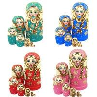 7pcs New Wooden Russian Nesting Dolls Braid Girl Dolls Traditional Matryoshka Wishing Dolls Gift 88 NSV775