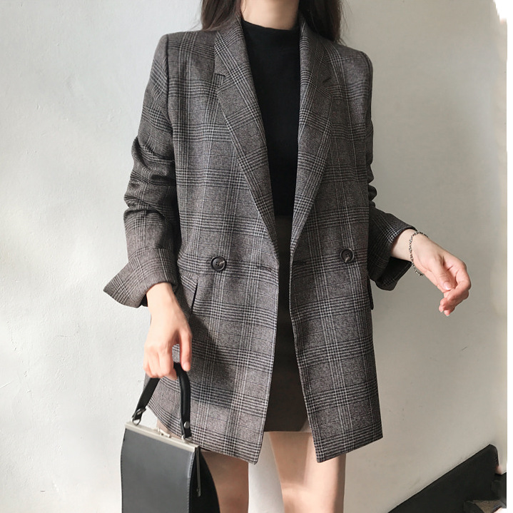 Autumn new women 39 s large size loose long sleeved suit jacket casual temperament lattice loose women 39 s suit jacket 2019 in Blazers from Women 39 s Clothing