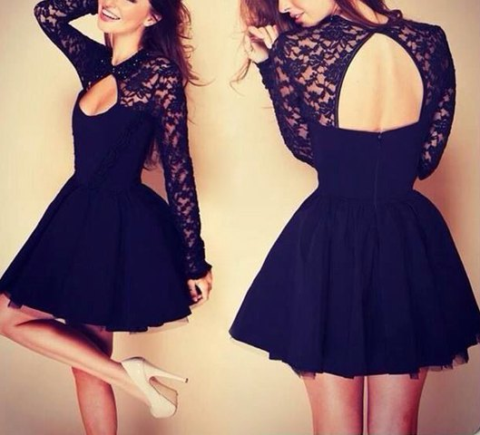 ecf68460ea Alluring Round Neck Long Sleeve Solid Color Hollow Out Dress For Women Sexy  Black Lace Dresses Women Clothing Vestidos