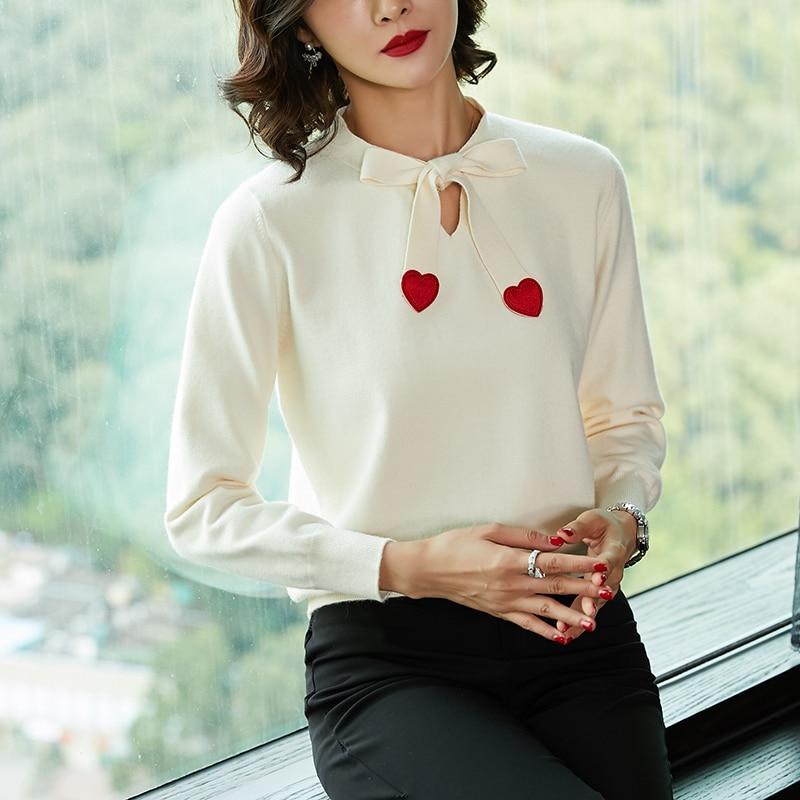 2018 Mujeres Negro Y Otoño Suelta Las Versión Cortas Suéteres blanco Punto rojo Nuevos De Largas Mangas caqui Coreana Cabeza púrpura xIOq0IAw