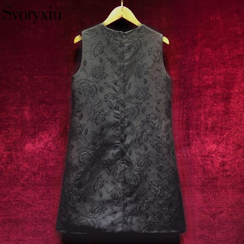 Svoryxiu Vintage noir Mini robe femmes sans manches luxueux diamants notre dame imprimer dames fête piste robe 2018 - 2