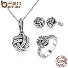 df27f5d1a830 BAMOER auténtico 100% de Plata de Ley 925 espumosos amor nudo tejido  joyería accesorios de joyería de plata esterlina ZHS001