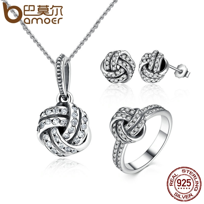 BAMOER Authentic 100% 925 Sterling Silver Sparkling Love Knot Weave Jewelry Sets Sterling Silver Jewelry Accessories ZHS001
