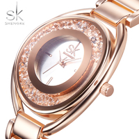 SK Fashion Women S Wrist Watches Diamond Golden Top Luxury Brand Ladies Jewelry Bracelet Clock Female