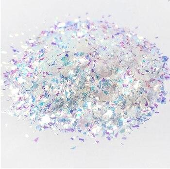 цена Iridescent glitter flakes 50g/bag  Aurora Shattered Glass Glitter rainbow Flakes Nail Chunky Glitter Flakes, Resin glitter онлайн в 2017 году