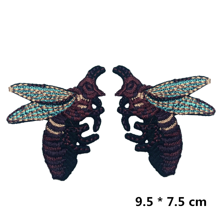 1pair Exquisite Embroidery Bees Patches No Glue DIY Clothing Accessories RS1073