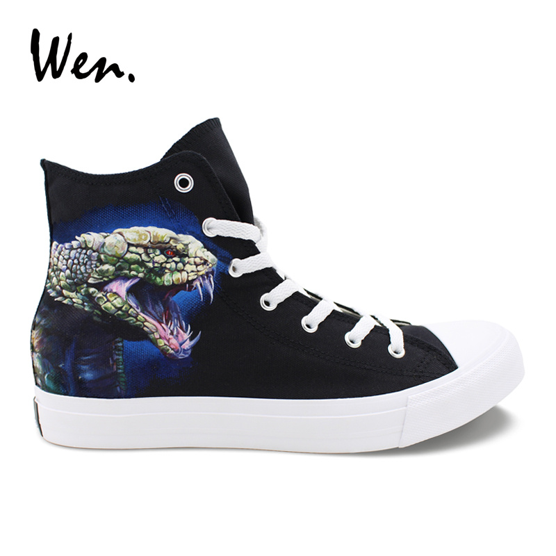 Wen Original Adult Design Boa Snake with Colored Snakeskin Unisex Hand Painted Athletic Shoes Black Canvas High Top Sneakers wen design custom astronaut outer space moon galaxy hand painted black canvas sneakers high top adults unisex athletic shoes