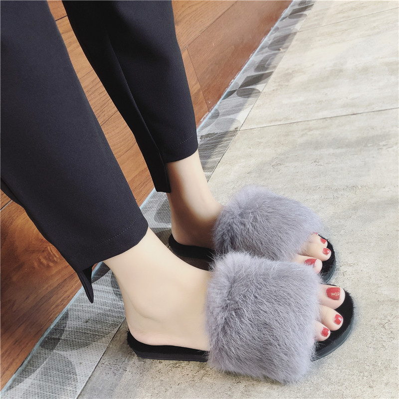 Fashion Women Slippers 2018 New Home Winter Faux Fur Warm Shoes Woman Slip on Flats Female Fur Flip Flops Plus Size 36-41 brand women flats shoes real rabbit fur slippers plus size winter autumn warm female flat heel slip shoes casual home slippers30