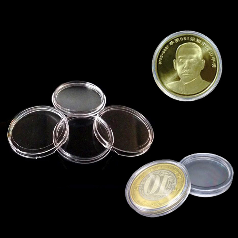 100pcs lot round coin collection boxes coin collectors. Black Bedroom Furniture Sets. Home Design Ideas