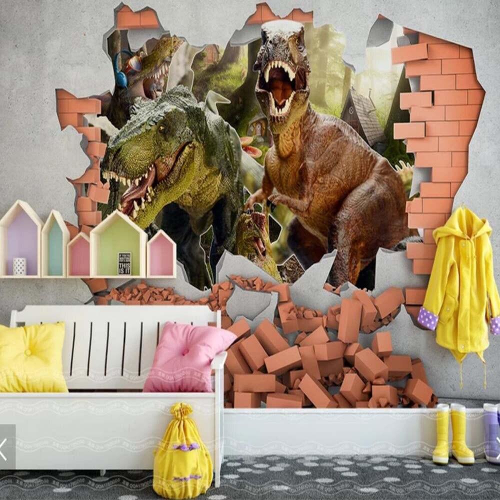 3d wallpaper dinosaur wall paper mural living room bedroom 3d wall paper for kids room papel de - Paperboy dinosaur wallpaper ...
