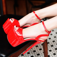 Size 34 High Heels Sandals 17cm Stripper Shoes Sexy Red Sandals Summer Wedding Party Shoes Fashion Stiletto Platform High Heels