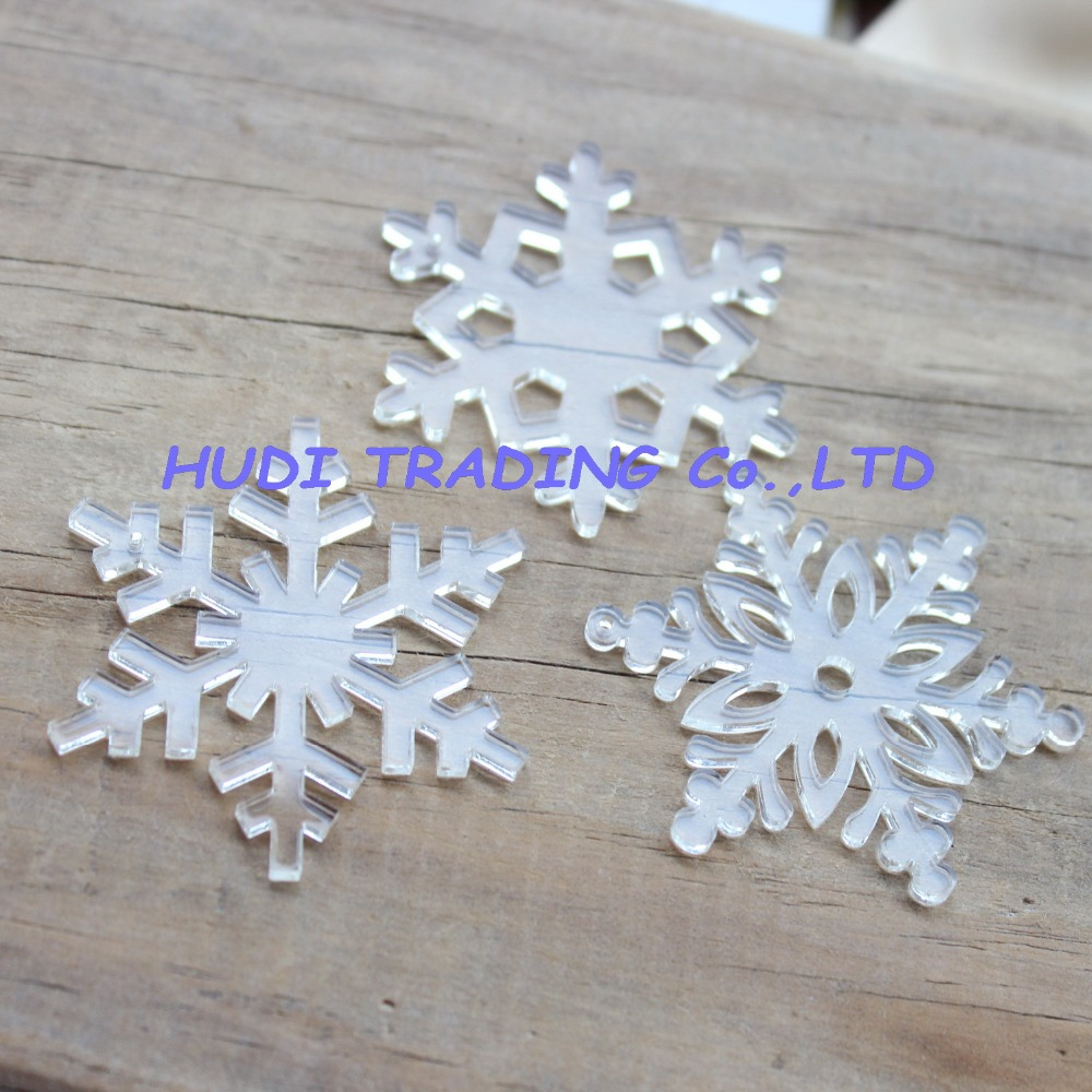 Acrylic clear ornaments -  3styles 30pcs Lot 50mm Assorted Clear Acrylic Snowflakes With Hole Christmas Ornaments