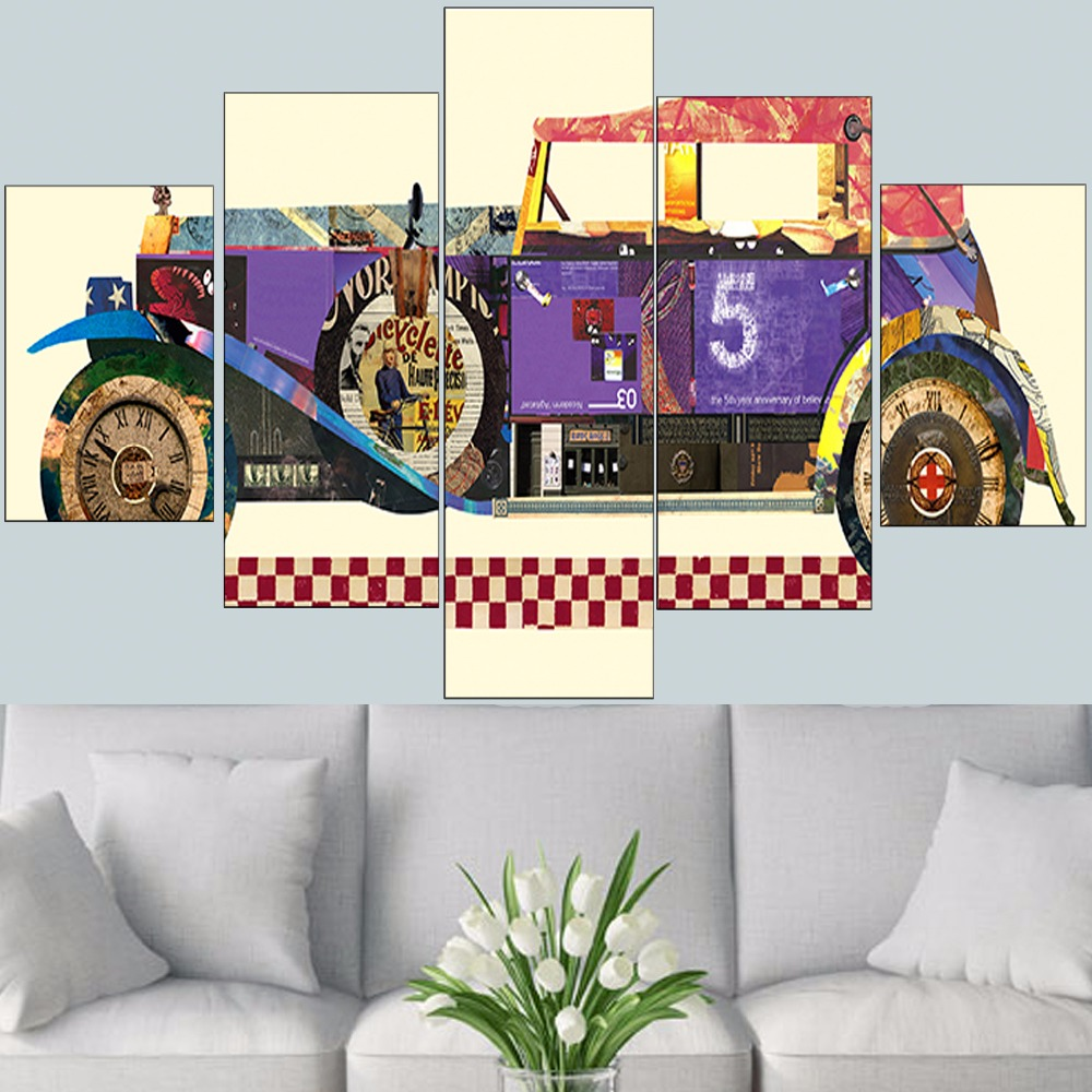 5 Pieces Vintage Car Wall Art canvas picture cuadros oil painting ...