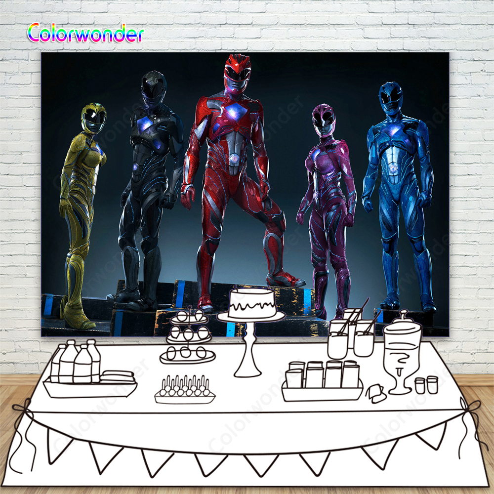 Power Rangers Superhero Movie Photo Background Red Black Blue Power Ranger Photography Backdrop For Kids Birthday Party Decor