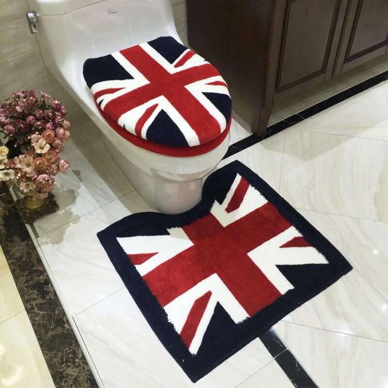 Новый британский стиль 3 шт./компл. крышку унитаза утолщенной Ванная комната Водонепроницаемый моющиеся Накладка на унитаз коврик для ночно...