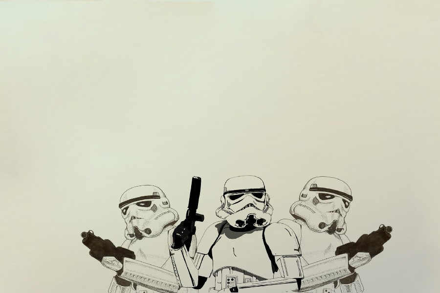 star wars trooper Simple background movie game Poster Silk Fabric Print Wall Art Decor