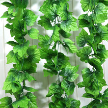 2.4M Artificial Ivy green Leaf Garland Plants Vine Fake Foliage Flowers Home Decor Plastic Artificial Flower Rattan string(China)