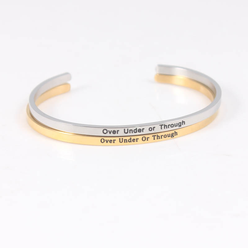 Over Under Or Through 316L Stainless Steel Bangles Engraved Inspirational Quote Cuff Bangle Mantra Bracelet  for Women