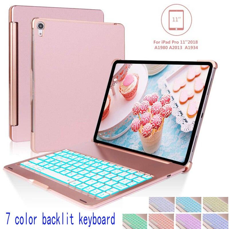 Slim Keyboard Cover Voor Ipad Pro 11 7 Kleuren Back-lit Wireless Bluetooth Keyboard Case Voor 2018 Ipad Pro 11 Inch Eenvoudig En Eenvoudig Te Hanteren