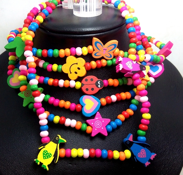 100pcs Kids Wood Beads Necklaces 6 Styles MIX Girls Party Bag fillers Children Toy Favor Wholesale Jewelry Lots
