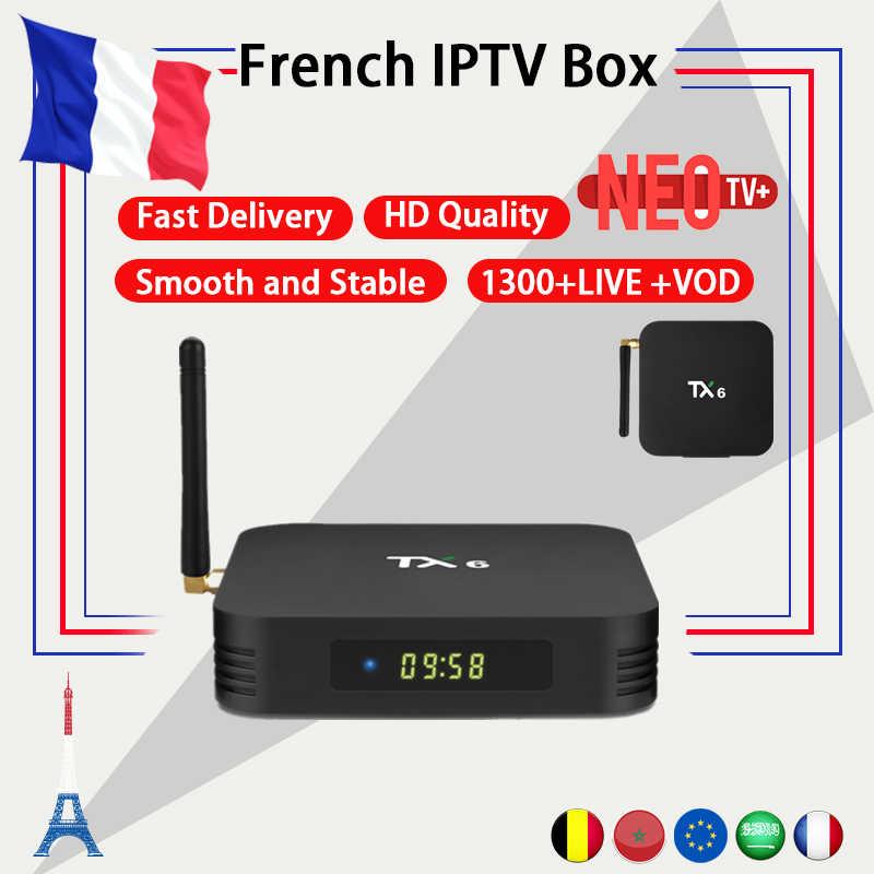 Français TX6 android tv box android 9.0 4G 32G/64G + neo IPTV abonnement neo tv pro France belgique arabe maroc M3U tv box