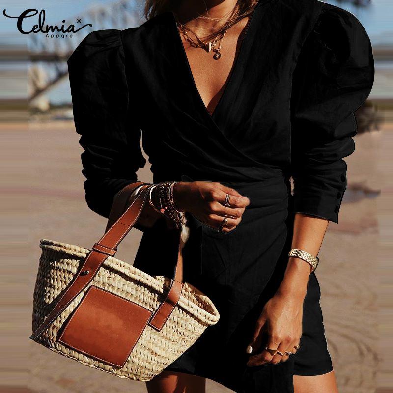 Grande Taille Femme Femme Plaine bouffant col rond long tunique tee shirt Mini robe