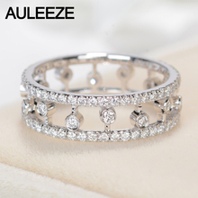 AULEEZE Luxury Natural Real Diamond Ring 18k White Gold 0.95cttw Round Cut Brillant Diamond Band For Women Wedding Fine Jewelry
