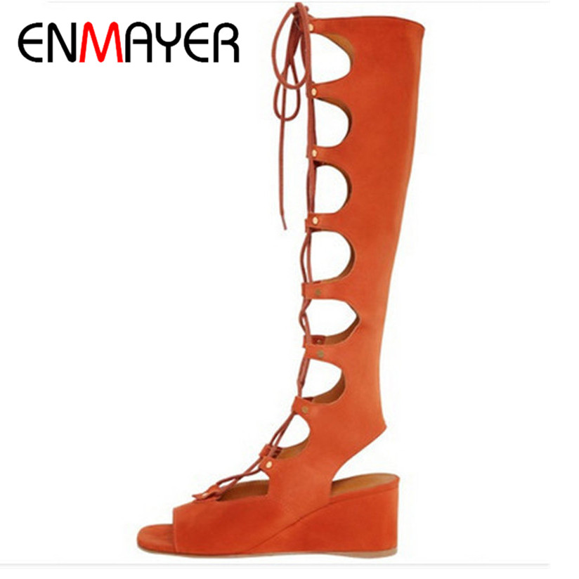 ENMAYER New Knee High Gladiator Summer Sandals Boots Women Brown Apricot Motorcycle Boots Wedges Genuine Leather Shoes Women цены онлайн
