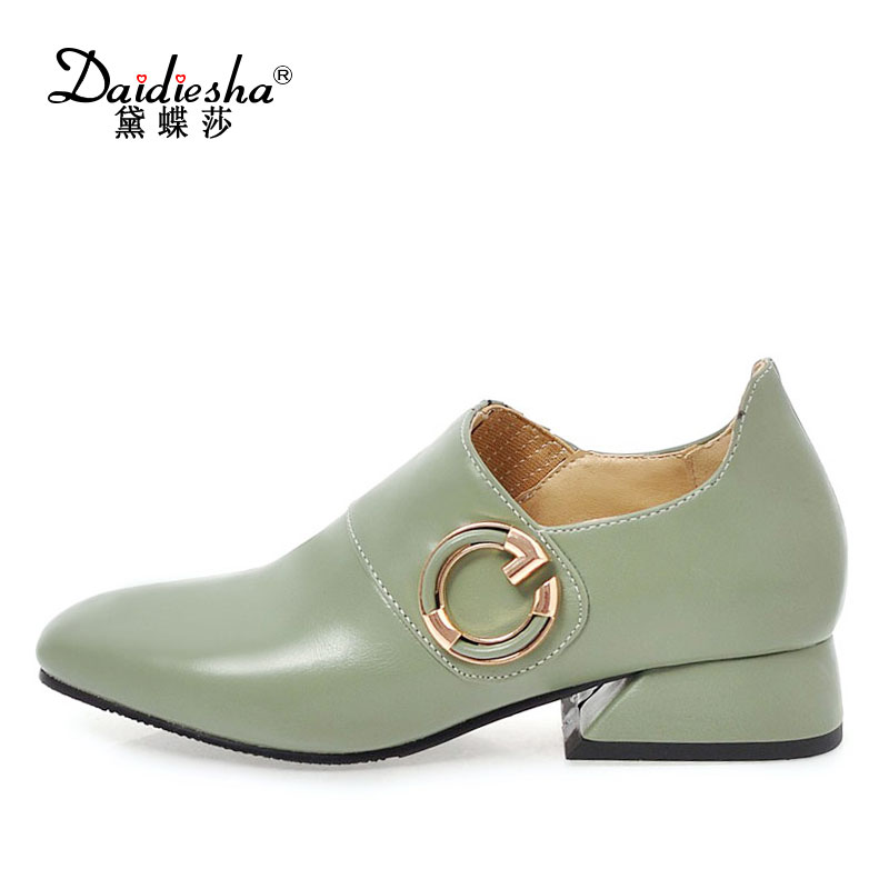 Daidiesha New Arrivals Solid PU Leather Ladies Flat shoe Slip-On Casual Mujer Zapatos Buckle Decoration Female's Loafers shoes sweet women high quality bowtie pointed toe flock flat shoes women casual summer ladies slip on casual zapatos mujer bt123