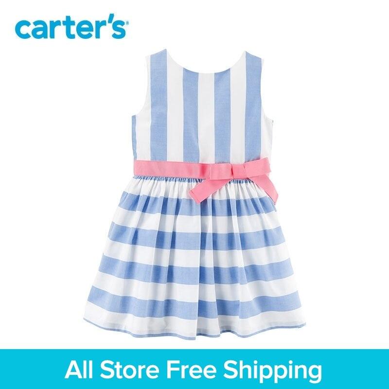 Carter's 1-Piece baby children kids clothing Girl Spring Summer Striped Bow Waist Dress 251G519/271G517 colorful striped high waist dress