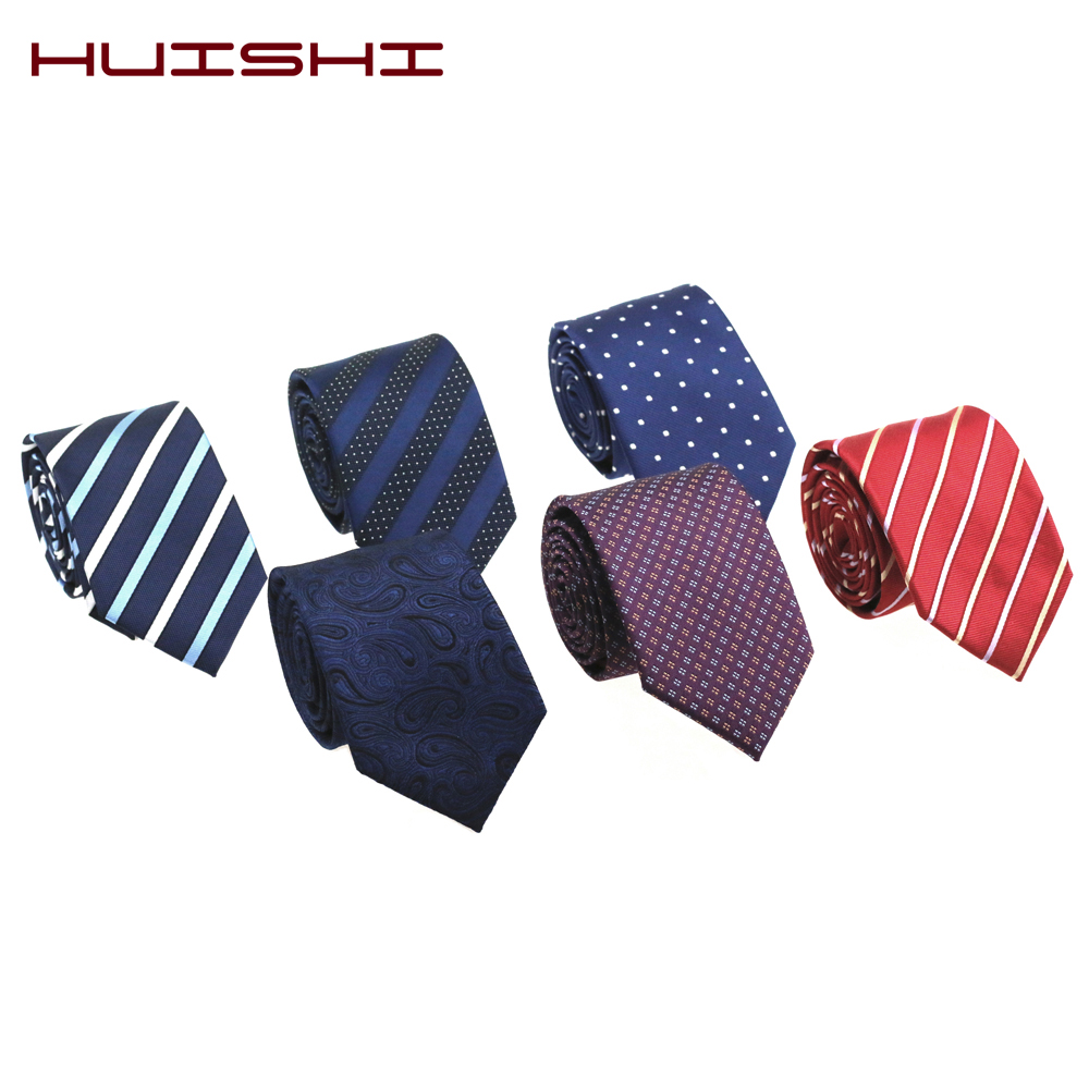 HUISHI 7cm Mens Ties Gift New Blue Fashion Dot Necktie Jacquard Slim Tie Business Red Purple Black Stripe Check Tie For Men Gift