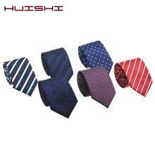 HUISHI 7cm Mens Ties Gift New Blue Fashion Dot Necktie Jacquard Slim Tie Business Red Purple Black Stripe Check For Men