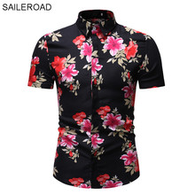 SAILEROAD 2019 Fashion Flower Shirt Men Print Shirts Hawaiia