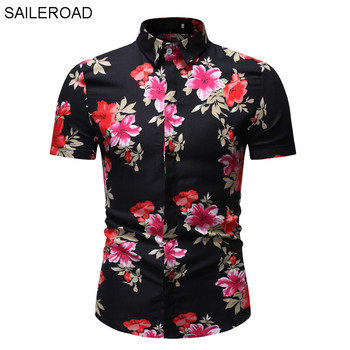 SAILEROAD 2020 Fashion Flower Shirt Men Print Shirts Hawaiian Slim Fit Camisa Floral Masculina Summer Short Sleeve Shirts Tops hawaiian shirt men camisa social flower summer long sleeve new model shirts mens floral blouse men clothing