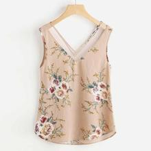 Summer blouse Women Sexy Sleeveless Chiffon Tops Fashion Lady Floral Print Vest Loose Shirt Blouse Cami Blusa Beach Tops