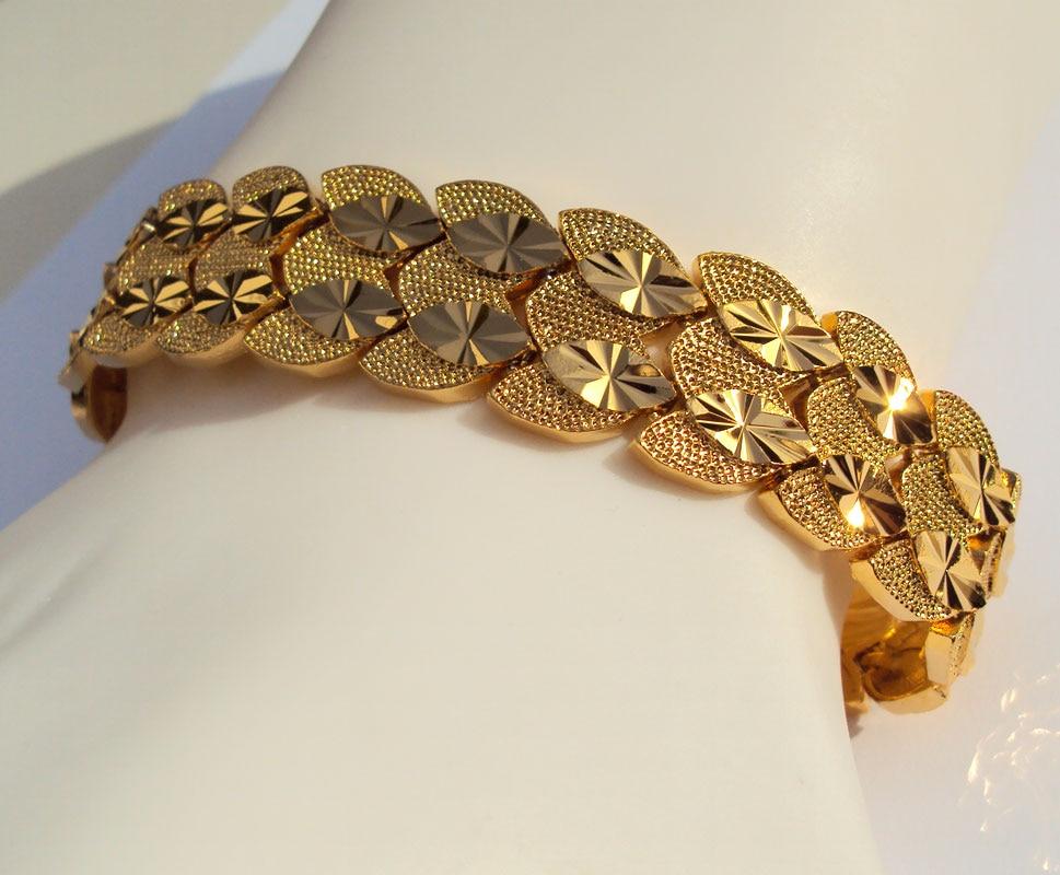 Eternal classics Mens Womens Bracelet Wide 23K 24K THAI BAHT YELLOW GOLD GP Bangle Twin  ...