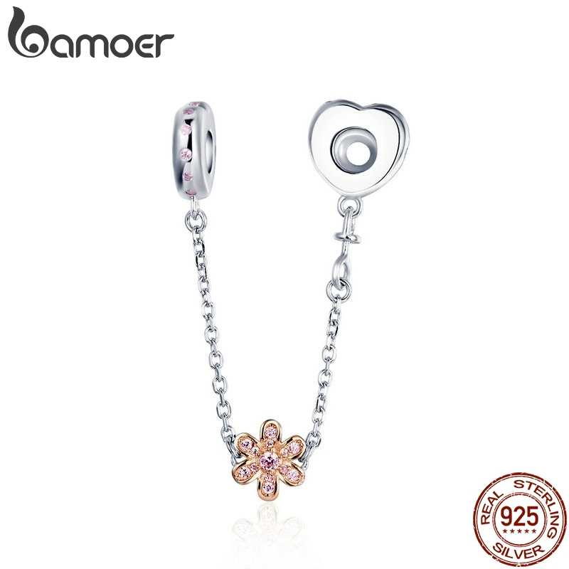 BAMOER 925 Sterling Silver Love Connection Safety Chain Charm Fit  Bracelet Heart Shaped Sterling Silver Jewelry SCC1112