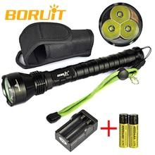 Boruit Тактический Фонарь 3x XM-L T6 LED 5 Режим Фонарик Портативный Свет Работы Кемпинг Охота Lanterna + 2×18650 аккумулятор + Зарядное Устройство