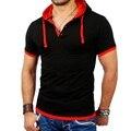 Polo Shirt Мужчины Марка 2016 мужская Мода Капюшоном Воротник Herren T Мужчины Рубашка С Коротким Рукавом Polo Shirt Homme 3XL/3 цвет