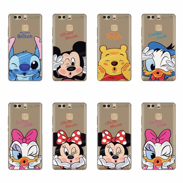 TPU Silicone Case For Huawei P9 lite Cover Winnie Pooh Stitch Daisy Donald Duck Minnie Mickey