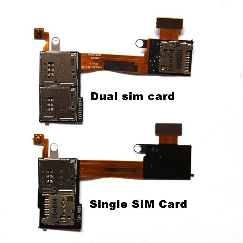 Mobile Phone Sim Cards Adapters For Sony xperia M2 Aqua S50H S50T D2303 D2305 D2306 TF Card Slot+ Sim Card Slot PCB Flex Cable