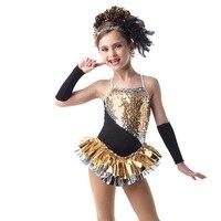 High Quality Kids Girls Gold Latin Dress Party Dress Adult Women Latin Dance Costume Free Shipping