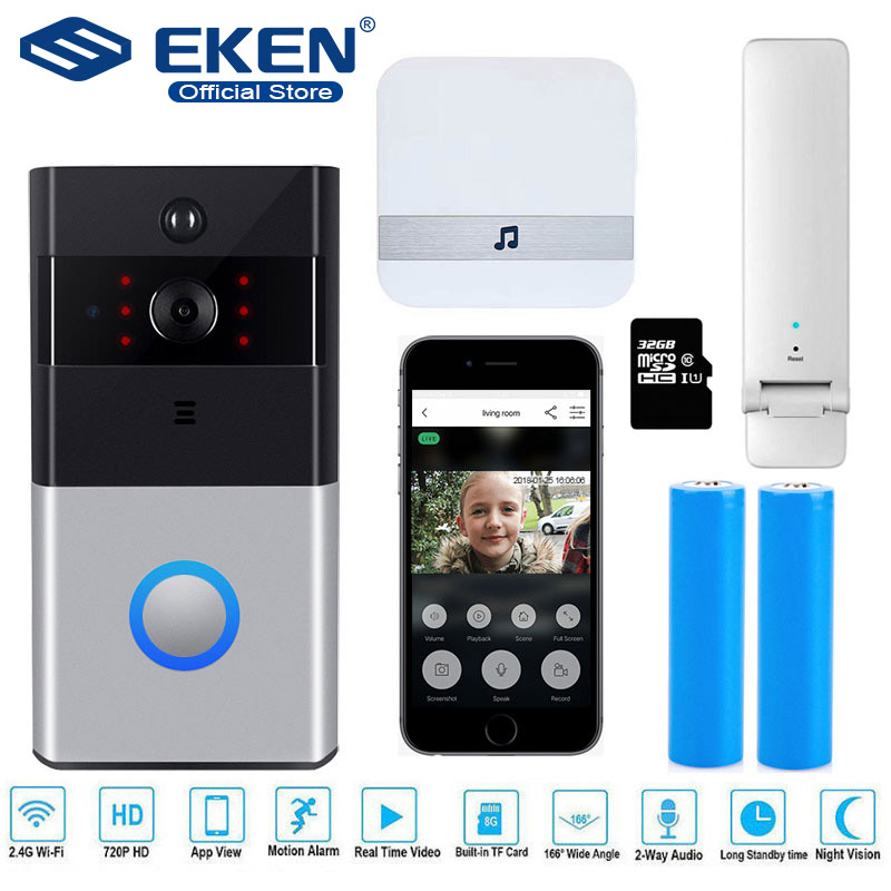 WIFI IP Doorbell 720P Camera Video Door Bell Night Vision IR Motion Detection Alarm Security Wireless