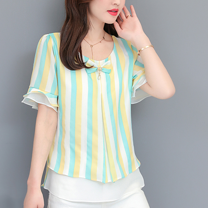 Informal Summer time Shirt Ladies Quick Sleeve Chiffon Shirt Unfastened Plus Dimension 4XL Women Faux Two Piece Blusas Femininas Ladies Clothes Blouses & Shirts, Low cost Blouses & Shirts,...
